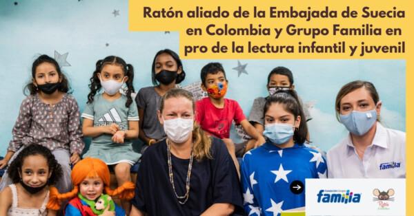 Ratón aliado de la Embajada de Suecia en Colombia y el Grupo Familia en pro de la lectura infantil y juvenil